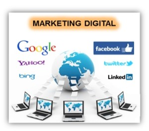 Marketing digital, imagen de ordenadores, internet y logotipos de buscadores y redes sociales