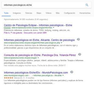 """Imagen de resultados de búsqueda de Google para """"informes psicológicos elche"""""""