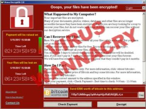 Captura de pantalla del virus ransomware wanna cry