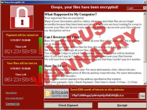 Captura de pantalla del virus wanna cry, el ransomware que sale en todas las noticias